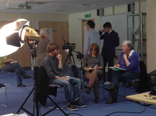 Julie and Marsha prepare to interview Matt Davies