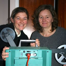 Gill and Julia watch archive films