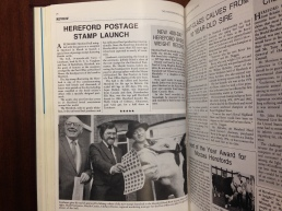 Interviewee's prize bull guest of honour at postage stamp launch, 1984